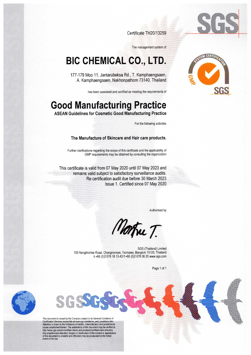 Certificate GMP The Manufacture of Skincare and Hair care products.